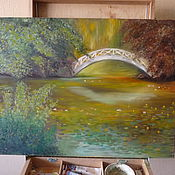 Картины и панно ручной работы. Ярмарка Мастеров - ручная работа Мостик в парке. Handmade.