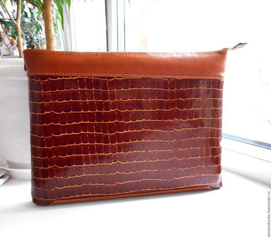 Женские сумки ручной работы. Ярмарка Мастеров - ручная работа. Купить Клатч, папка, чехол из кожи, рыжий. Handmade. Рыжий