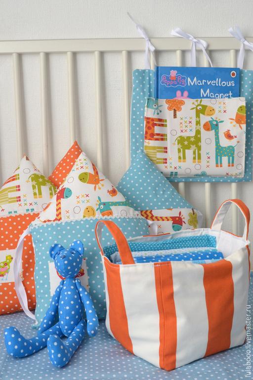 Детская ручной работы. Ярмарка Мастеров - ручная работа. Купить Яркие бортики-домики в детскую кроватку с жирафиками. Handmade. жираф