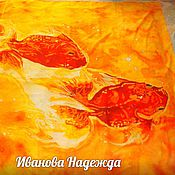 """Одежда ручной работы. Ярмарка Мастеров - ручная работа Парео """"Золотые рыбки"""" батик. Handmade."""