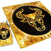 handmade. Livemaster - original item The GOLDEN calf, set of satin fabric, table cloth and pouch. Handmade.