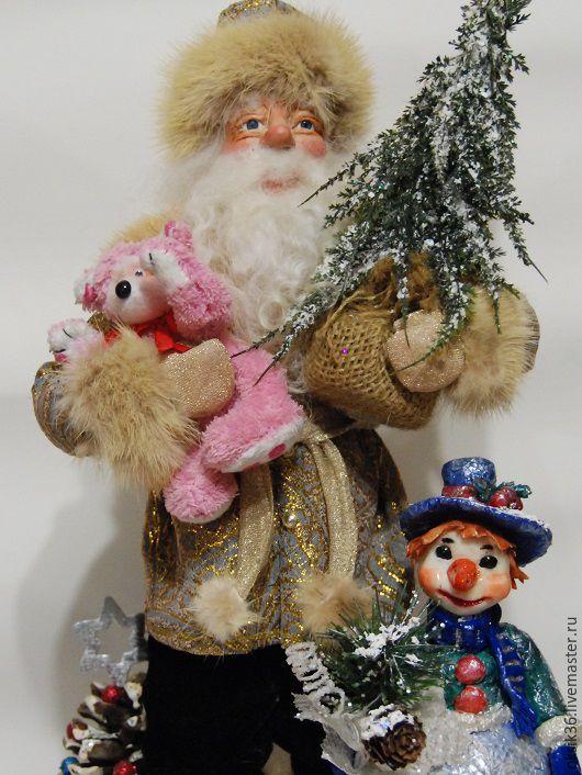 Коллекционные куклы ручной работы. Ярмарка Мастеров - ручная работа. Купить Дед Мороз и снеговик. Handmade. Золотой, дед мороз