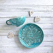 Чайные пары ручной работы. Ярмарка Мастеров - ручная работа Чайная пара «Бирюза». Handmade.