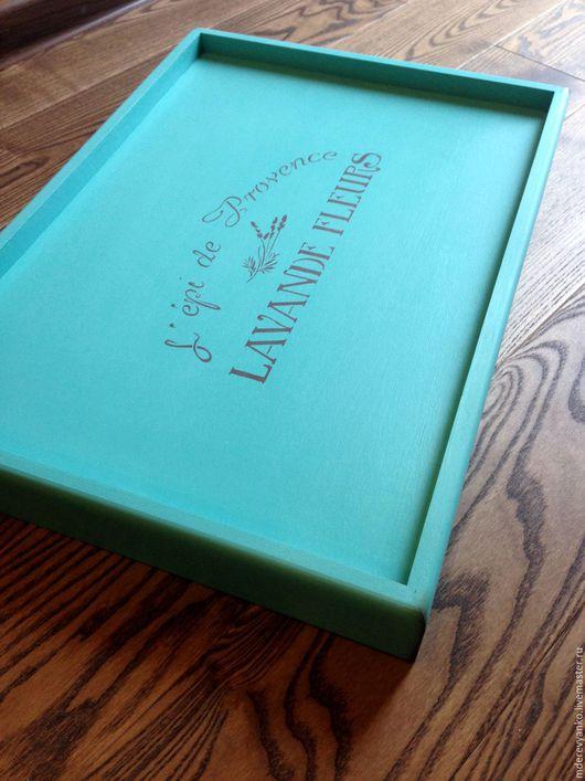 """Кухня ручной работы. Ярмарка Мастеров - ручная работа. Купить Поднос на ножках """"Lavande fleurs"""" turquoise. Handmade. Поднос, столик"""