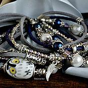 handmade. Livemaster - original item Bracelet blue, pearl, with boho-chic ceramics
