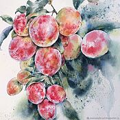 Картины и панно handmade. Livemaster - original item Plum. Watercolor painting (red, green, dark green, pink). Handmade.