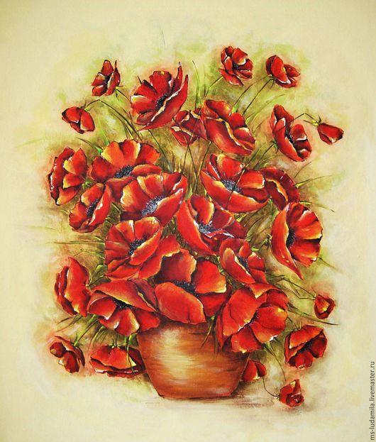 """Картины цветов ручной работы. Ярмарка Мастеров - ручная работа. Купить Картина """"Маки, маки.."""". Handmade. Ярко-красный"""