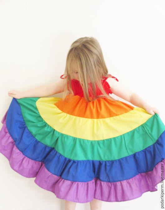Одежда для девочек, ручной работы. Ярмарка Мастеров - ручная работа. Купить Радуга. Handmade. Комбинированный, многоярусный