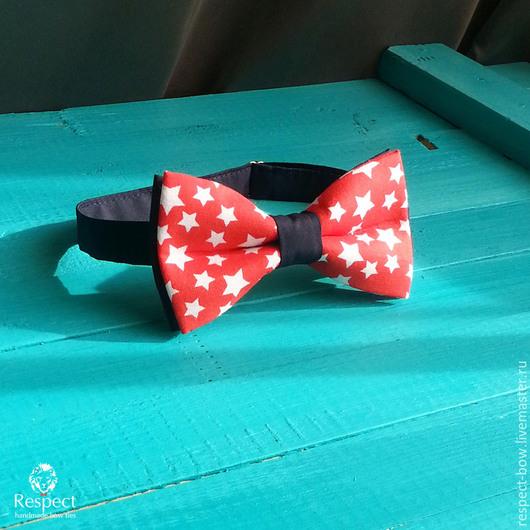Галстуки, бабочки ручной работы. Ярмарка Мастеров - ручная работа. Купить Бабочка галстук Звездочет / черно красный галстук бабочка со звездами. Handmade.