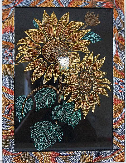 """Картины цветов ручной работы. Ярмарка Мастеров - ручная работа. Купить картина """"Подсолнухи"""". Handmade. Картина, акриловые контуры, желтый"""