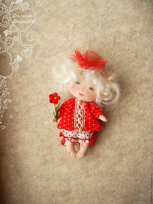 Коллекционные куклы ручной работы. Ярмарка Мастеров - ручная работа. Купить Одуванчик: куколка малышка на счастье. Handmade. Ярко-красный