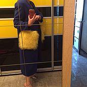 Кардиган с кармашками из меха ламы