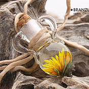 Украшения handmade. Livemaster - original item Dandelion wine - pendant jug lampwork glass cork. Handmade.