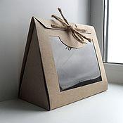 Инструменты для кукол и игрушек ручной работы. Ярмарка Мастеров - ручная работа Коробка 21х10,5х18,5 картонная треугольная крафт с окном. Handmade.