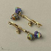 Украшения handmade. Livemaster - original item Earrings Oak twig with acorns brass lampwork. Handmade.