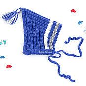 Работы для детей, handmade. Livemaster - original item Hat for newborn baby elf knitted beanie, blue. Handmade.