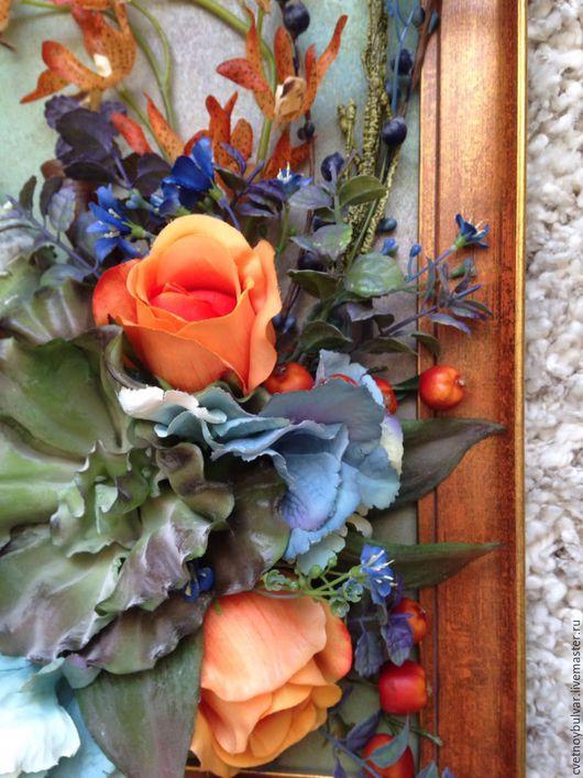 Картины цветов ручной работы. Ярмарка Мастеров - ручная работа. Купить Рыжих любит синий.... Handmade. Комбинированный, синий цвет