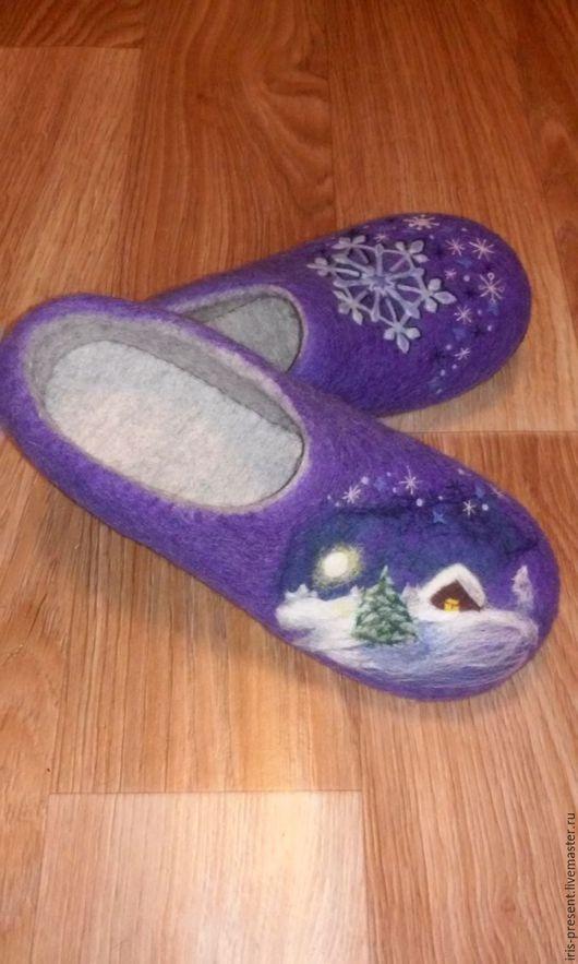 """Обувь ручной работы. Ярмарка Мастеров - ручная работа. Купить Тапочки валяные """"Зима"""". Handmade. Фиолетовый, зима"""