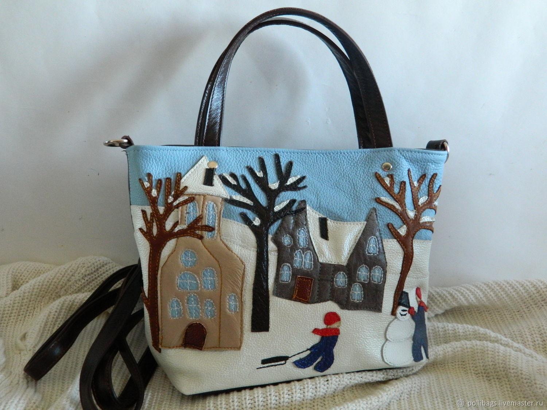 Bag leather women's Bag with applique Winter village, Classic Bag, Krasnodar,  Фото №1
