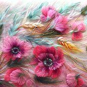 """Картины и панно ручной работы. Ярмарка Мастеров - ручная работа картина из шерсти """" Маки """"( 2). Handmade."""