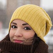 Аксессуары ручной работы. Ярмарка Мастеров - ручная работа Шапочка чулок бини (горчичный, желтый, коричневый). Handmade.