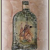 """Для дома и интерьера ручной работы. Ярмарка Мастеров - ручная работа часы-бутылка настенные """"Оливковое масло"""" (мотив Тоскана). Handmade."""