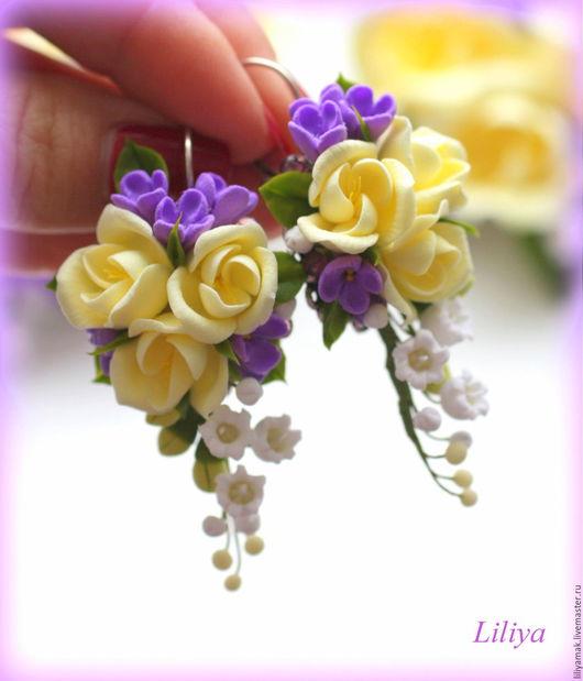 """Серьги ручной работы. Ярмарка Мастеров - ручная работа. Купить Серьги """"Весны ароматы"""". Handmade. Комбинированный, серьги с цветами, цветы"""