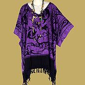 Одежда ручной работы. Ярмарка Мастеров - ручная работа Кельтский мотив фиолетовая туника платье, батик дельфины, свободный. Handmade.