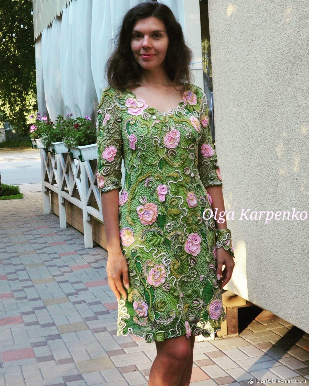 Платье вязаное Поэма о розе, ирландское кружево, Платья, Киев,  Фото №1