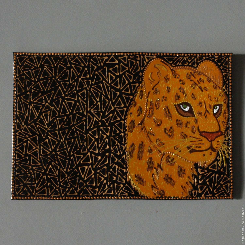 `Леопард` обложка для паспорта из натруальной кожи с ручной росписью. Обложка из натуральной кожи. Точечная роспись. Ручная роспись . Обложка на паспорт.