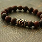 Украшения handmade. Livemaster - original item Bracelet of beads of Jasper with bronze insert runes. Handmade.