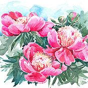 Картины и панно handmade. Livemaster - original item painting watercolor Pink peonies. Handmade.
