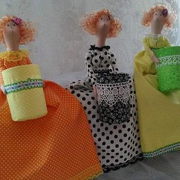 Для дома и интерьера ручной работы. Ярмарка Мастеров - ручная работа хранительницы ватных дисков и палочек. Handmade.