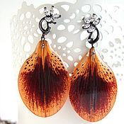 Украшения handmade. Livemaster - original item Earrings with Real Orange Lily Petals Korean Accessories. Handmade.