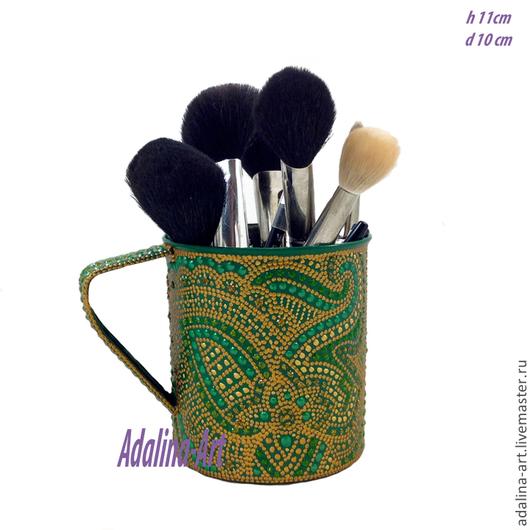 Карандашницы ручной работы. Ярмарка Мастеров - ручная работа. Купить ЗОЛОТАЯ НИТЬ подставка-карандашница Точечная роспись. Handmade. Зеленый