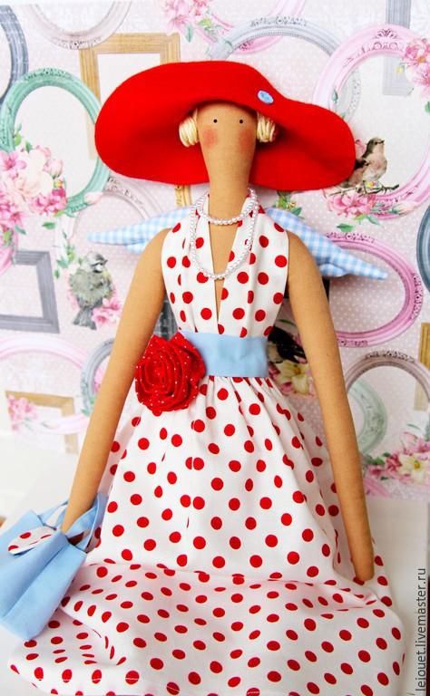 Куклы Тильды ручной работы. Ярмарка Мастеров - ручная работа. Купить Кукла Тильда Ангел Элегантность. Handmade. Ярко-красный