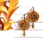 Украшения handmade. Livemaster - original item earrings: Long leather earrings are My roses 2. Handmade.