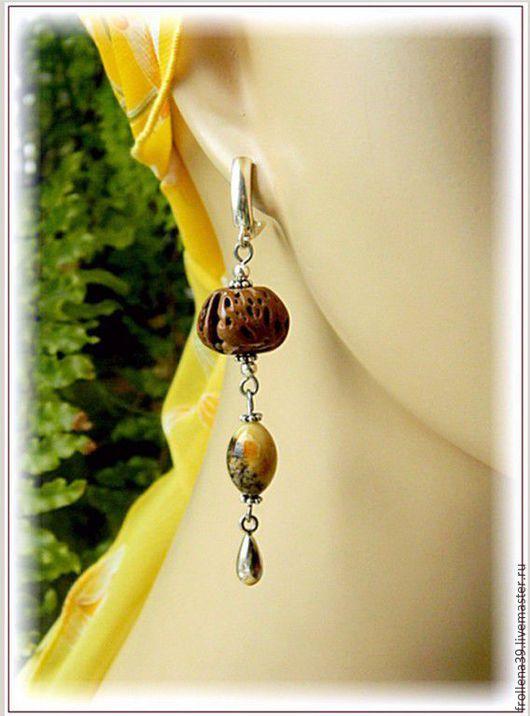 """Серьги ручной работы. Ярмарка Мастеров - ручная работа. Купить Серьги """"Природа вокруг""""  янтарь серебро персик. Handmade. Янтарь"""