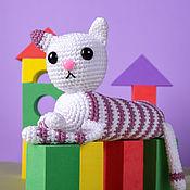 Куклы и игрушки handmade. Livemaster - original item Soft toy knitted striped cat Candy. Handmade.