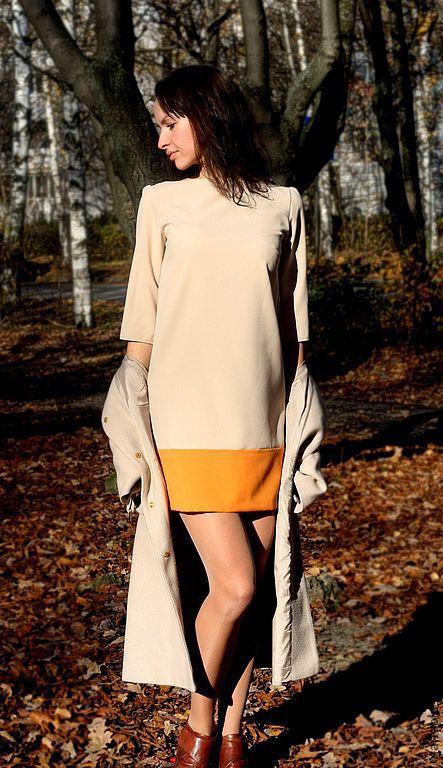 Платья ручной работы. Ярмарка Мастеров - ручная работа. Купить Платье повседневное 01-100. Handmade. Бежевый, платье контрастное