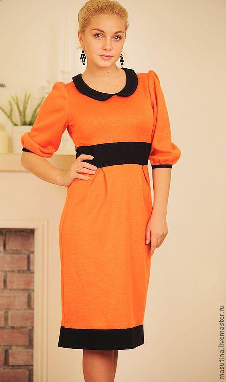 """Платья ручной работы. Ярмарка Мастеров - ручная работа. Купить Платье """"Апельсин"""". Handmade. Рыжий, 50% шерсть 50% акрил"""