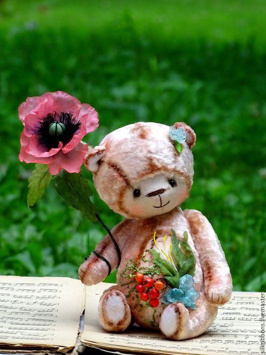 Мишки Тедди ручной работы. Ярмарка Мастеров - ручная работа. Купить Плюшевый мишка Тедди абрикосово-розовый с цветами. Handmade.