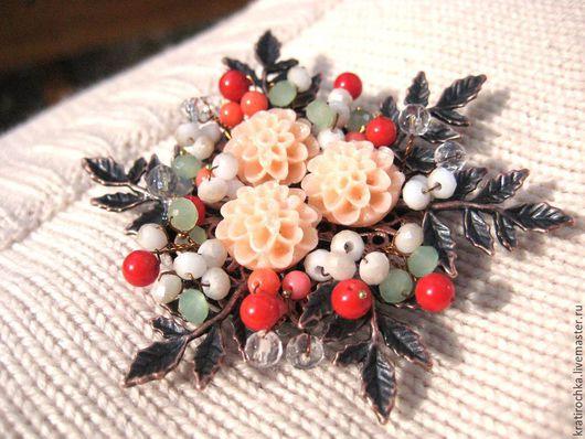 """Броши ручной работы. Ярмарка Мастеров - ручная работа. Купить брошь """"Весна"""" с натуральными камнями. Handmade. Комбинированный, букет цветов"""