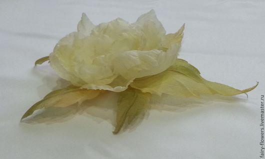 Цветы ручной работы. Ярмарка Мастеров - ручная работа. Купить цветок из шелка. Handmade. Лимонный, шелковые цветы