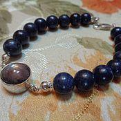 Украшения handmade. Livemaster - original item Men`s bracelet made of AA sapphire(corundum) and star sapphire in silver. Handmade.