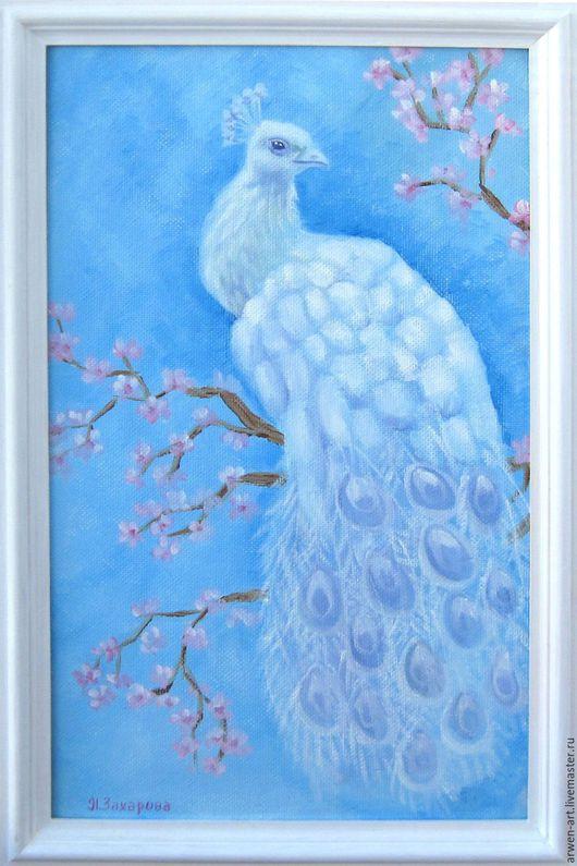 """Животные ручной работы. Ярмарка Мастеров - ручная работа. Купить Картина маслом """"Белый павлин"""". Handmade. Голубой, картина, павлин"""