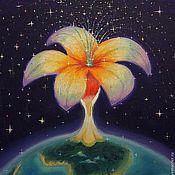 Картины и панно ручной работы. Ярмарка Мастеров - ручная работа Волшебный цветок, картина мало 30х35. Handmade.