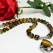 Украшения handmade. Livemaster - original item Necklaces Beads with natural Tiger`s-eye. handmade.. Handmade.