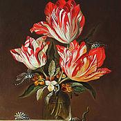 Картины ручной работы. Ярмарка Мастеров - ручная работа Тюльпаны и фиалки в вазе, ящерицы, стрекозы, пчелы и осы на выступе. Handmade.