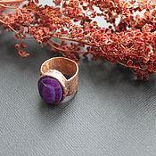 Украшения ручной работы. Ярмарка Мастеров - ручная работа Медное кольцо перстень VIOLET -  агат. Handmade.
